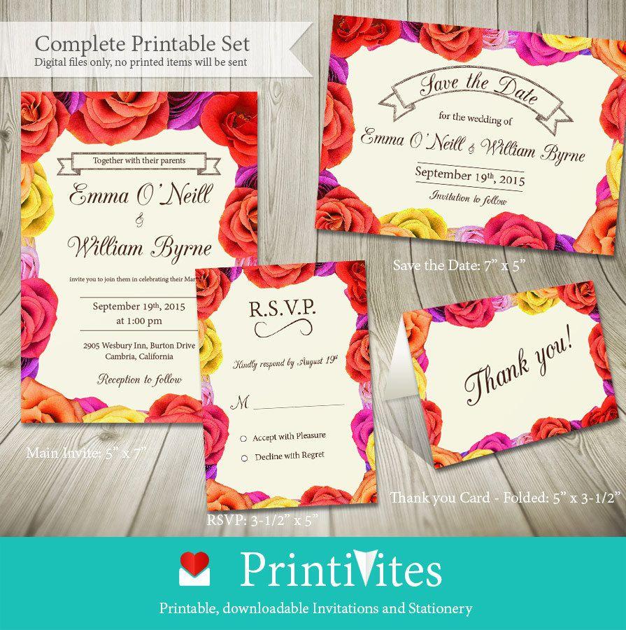 Printable Wedding Invitation Set / Big Bold Floral by PrintiVites ...