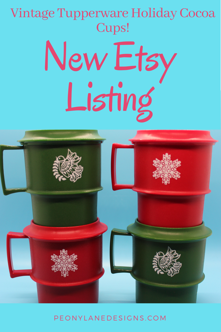 Tupperware Green & Red Christmas Cocoa/Coffee Mugs with