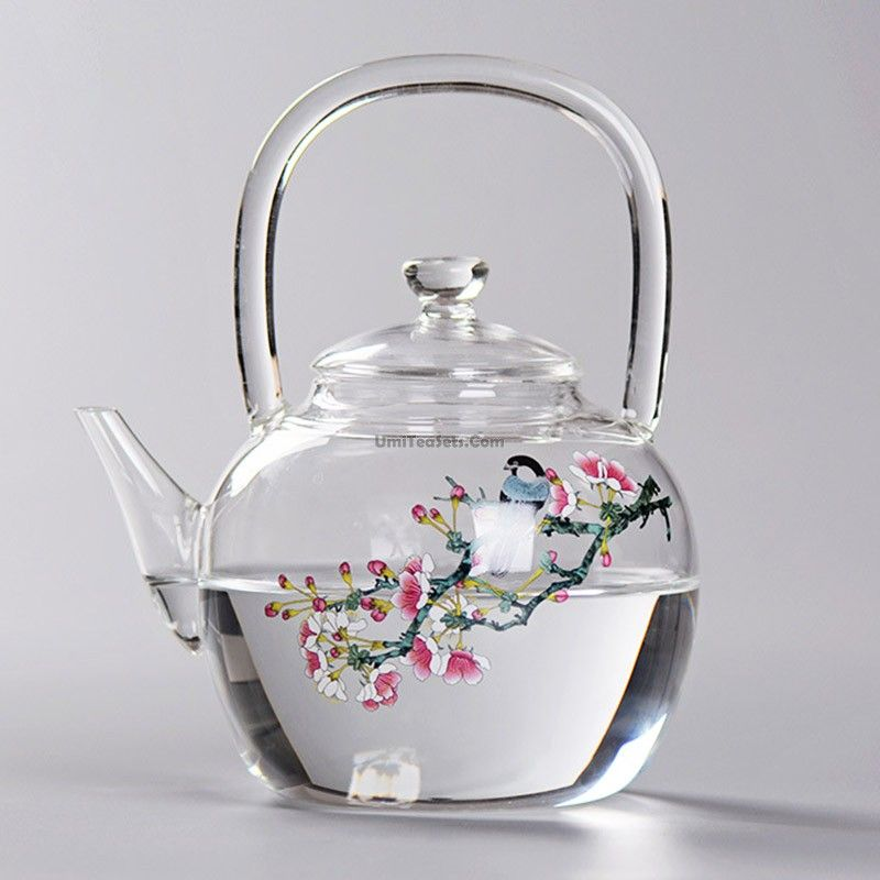 Magpie And Peach Blossom Glass Teapot Tea Pots Glass Teapot Antique Tea