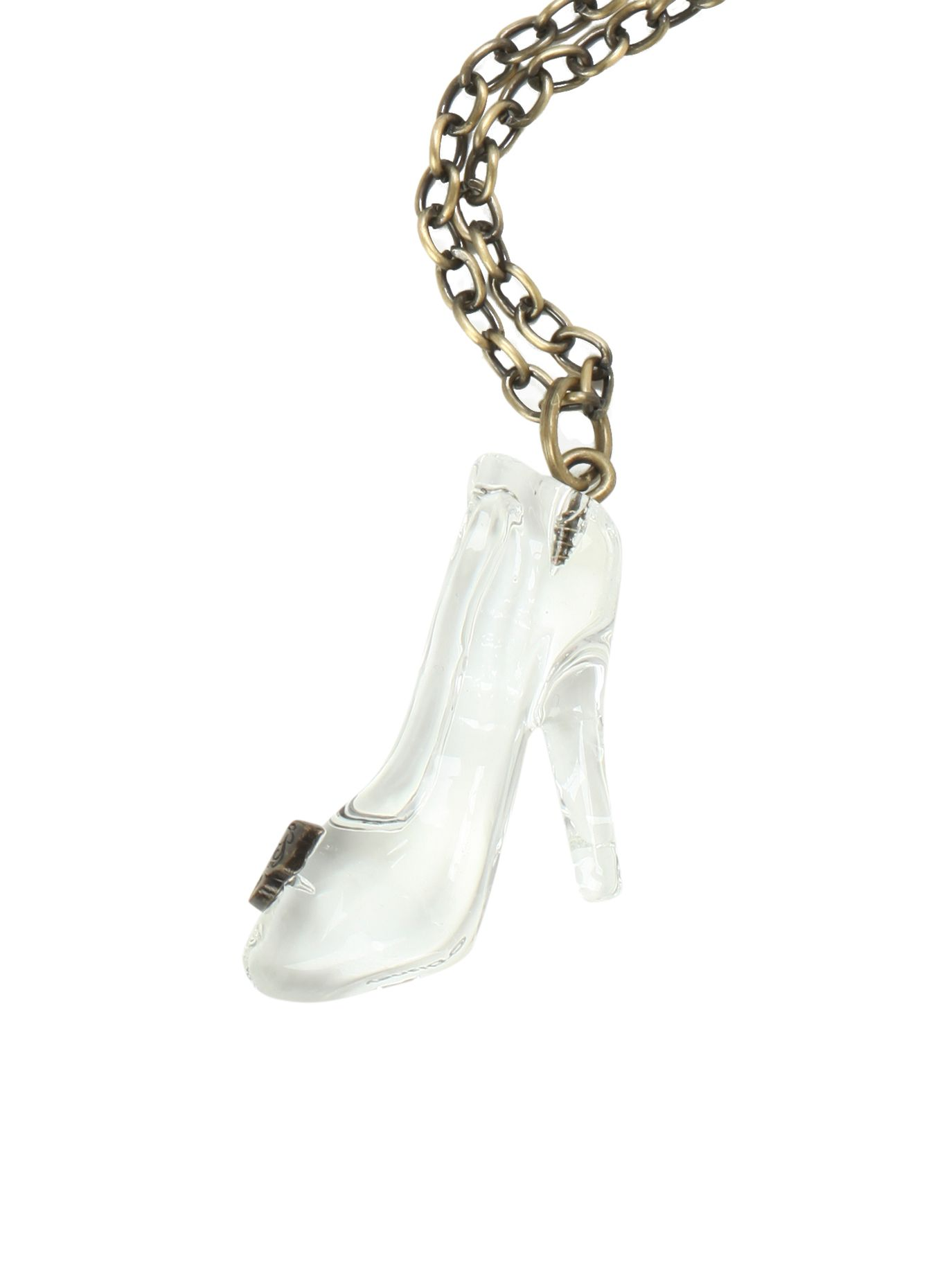 Never lose your glass slipper againwear it around your neck exclusive hot topic cinderella necklace with a butterfly accented glass slipper pendant aloadofball Images