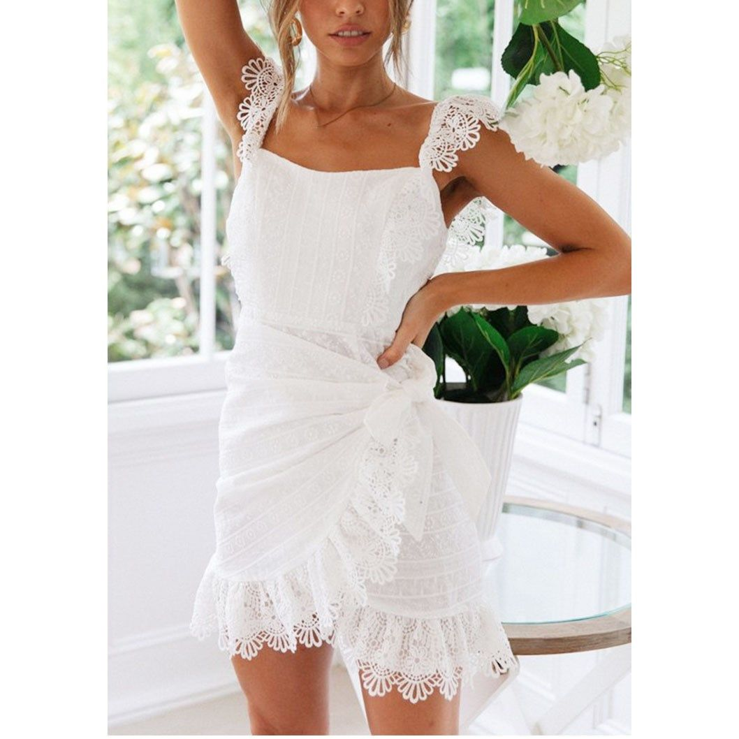 Summer White Lace Backless Dress 2019 Women Sexy Elegant Bodycon Party Dress Embroidery Hollow Out Short Mini Dress #shortbacklessdress