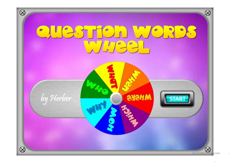 Question Words Wheel Worksheet
