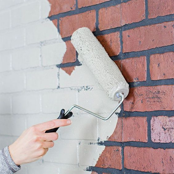 Lowes Brick Faux Paneling Enteryway Coat Accent Wall: Roll On A Base Coat Of Paint.