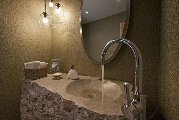 Wunderschönes Waschbecken Aus Naturstein Im Badezimmer