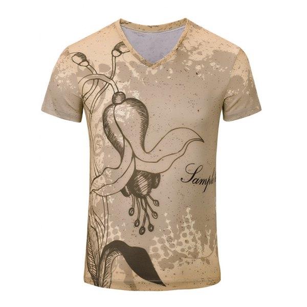 British Street Style Printed T Shirt Harajuku Hip Hop Tee Shirts Top Quality Mens V Neck Cool Tops Short Sleeve