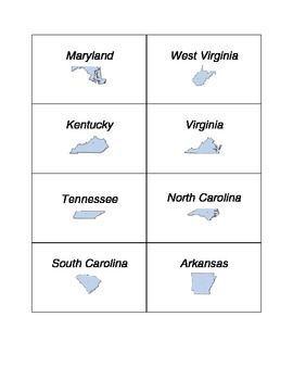 Southeast Region StateCapital Flashcards Matching Game - West region states and capitals