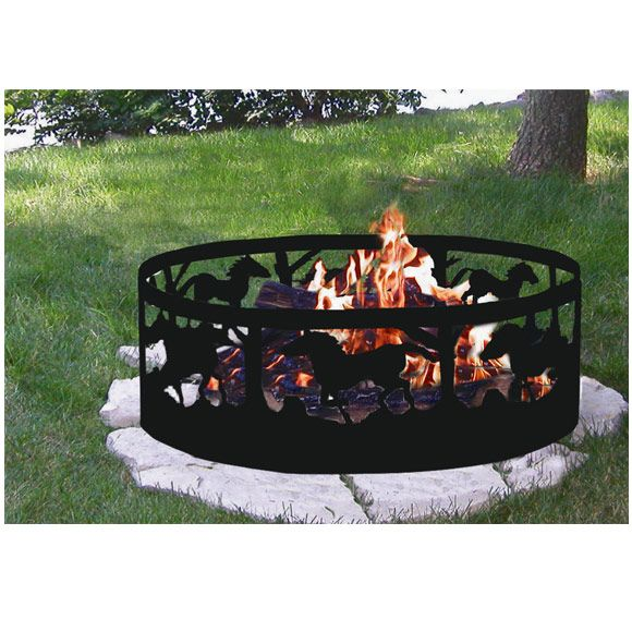 Sunnydaze 36 Inch Running Horse Campfire Ring Outdoor Fire Pit Fire Pit Landscaping Outdoor Fire