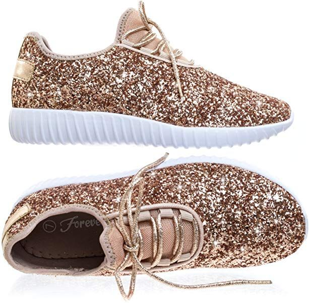 fd0afe14c721 Amazon.com | Forever Link Women's REMY-18 Glitter Fashion Sneakers Pink 5  B(M) US | Fashion Sneakers