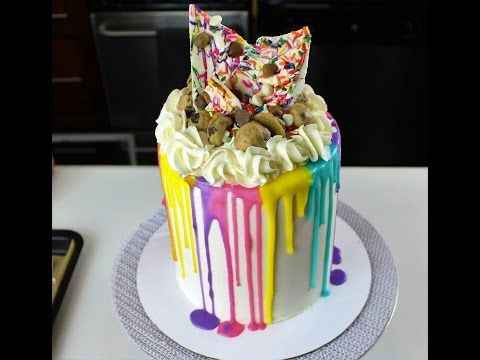 Easy Colorful Drip Cake With Edible Cookie Dough I CHELSWEETS
