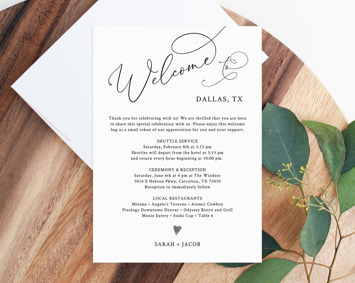 Welcome Letter Template Wedding Itinerary Card Welcome Bag Letter Wedding Agenda Printable Hotel Welcome Note Templett W30 Wedding Agenda Wedding Itinerary Welcome Letters Wedding hotel welcome letter template