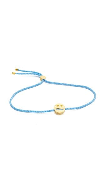 This easy-to-layer Ruifier bracelet is detailed with an 18k gold-vermeil emoji charm. Thin cord. A sliding bead adjusts the length.