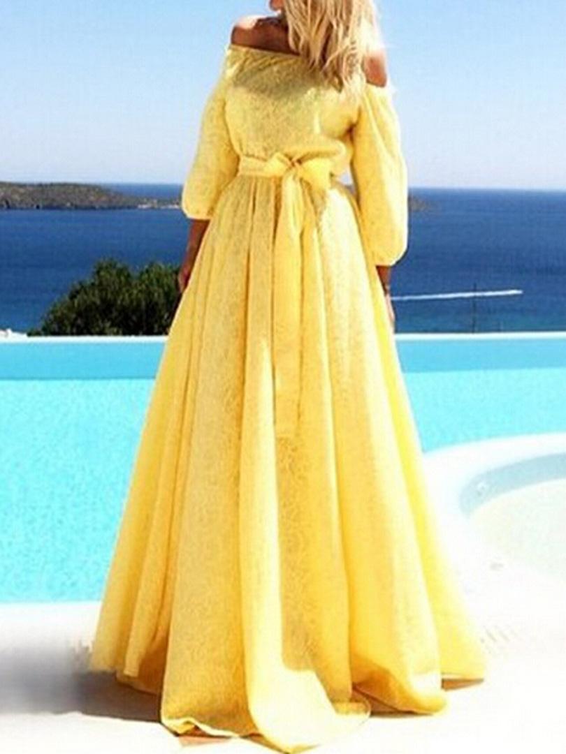 Yellow off shoulder tie waist lace detail maxi dress choies