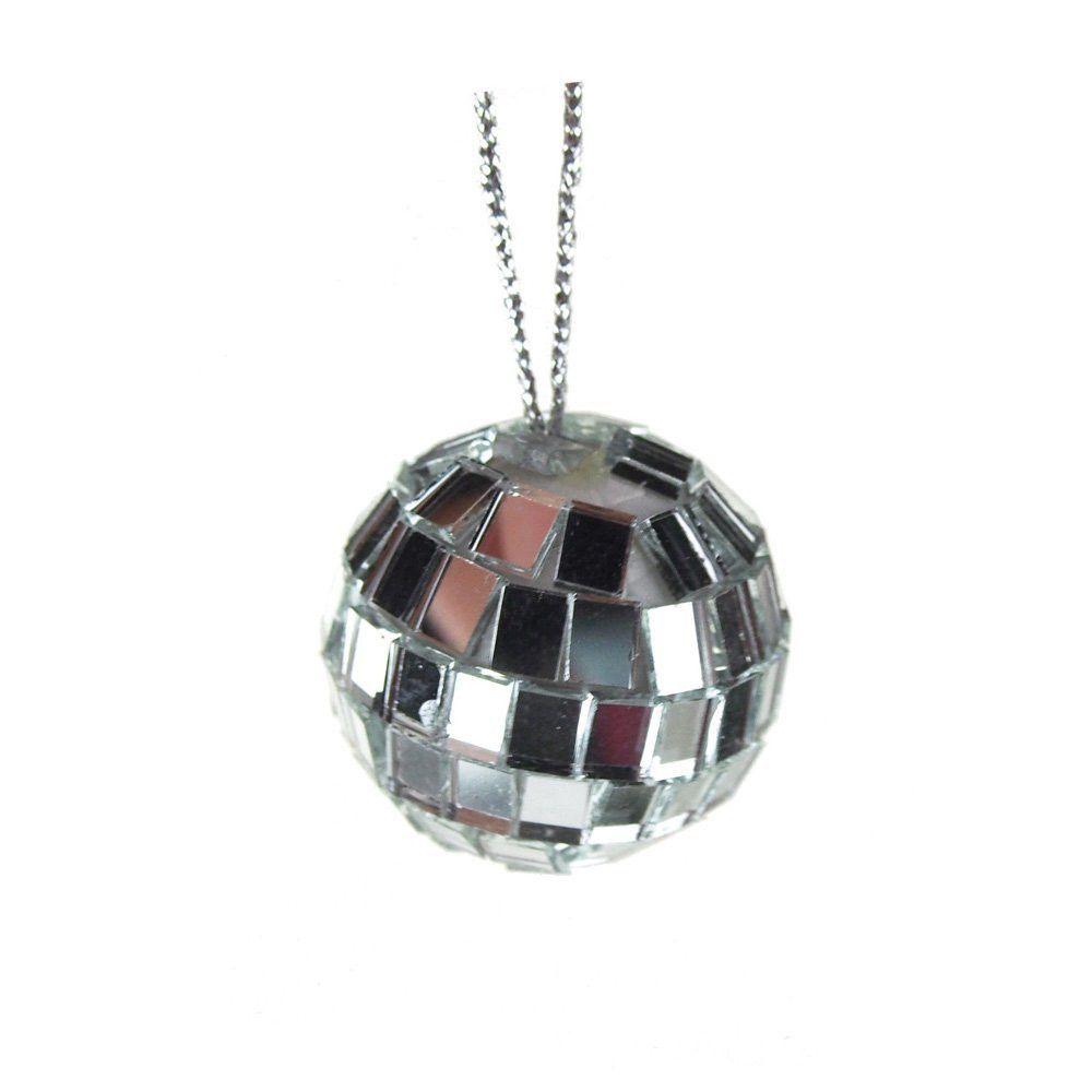 Set of 12 Mirror Treasure Ornament Balls, Silver, 1-1/4-Inch