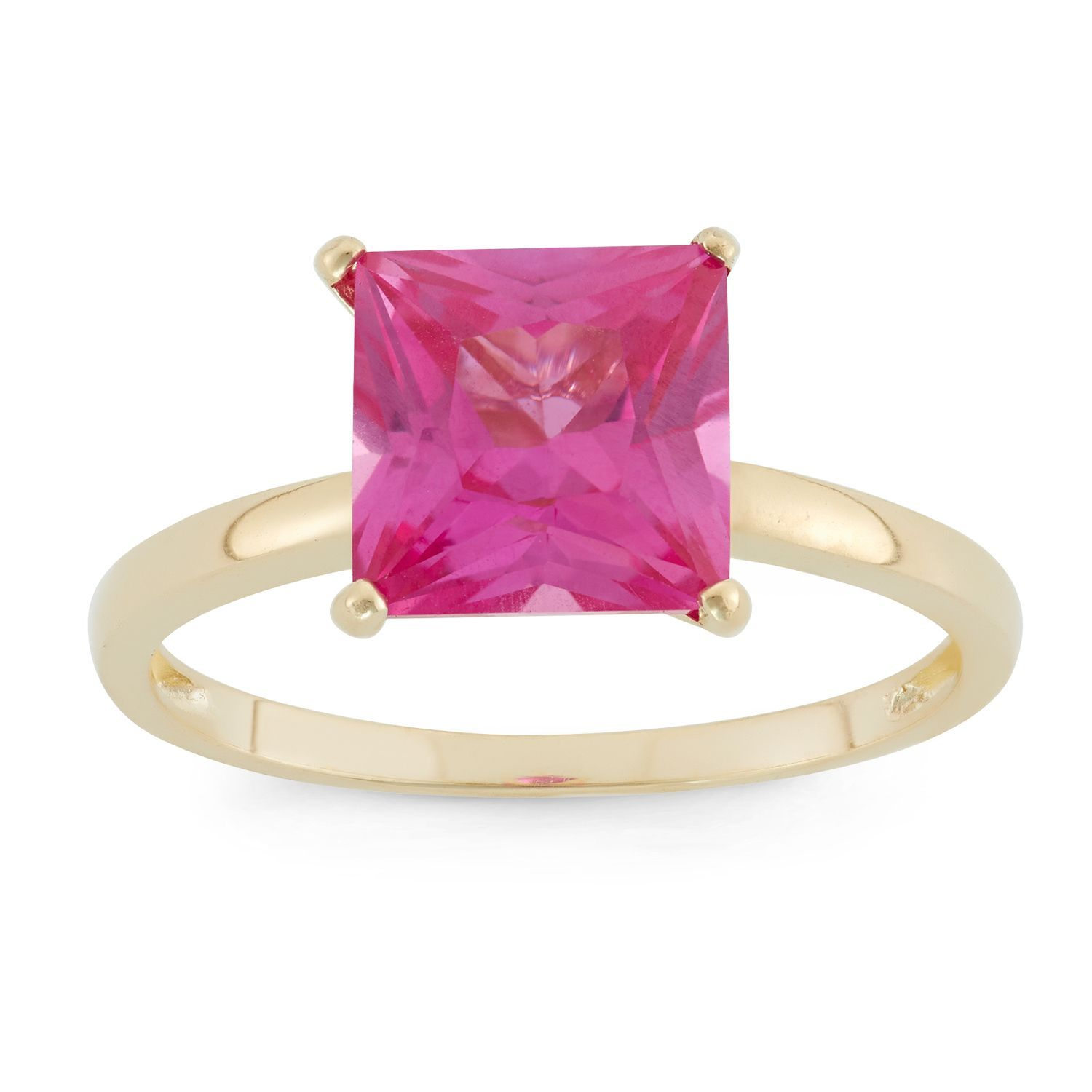 Gioelli Designs 10k Yellow Gold Princess-cut Birthstone Ring (Swiss ...