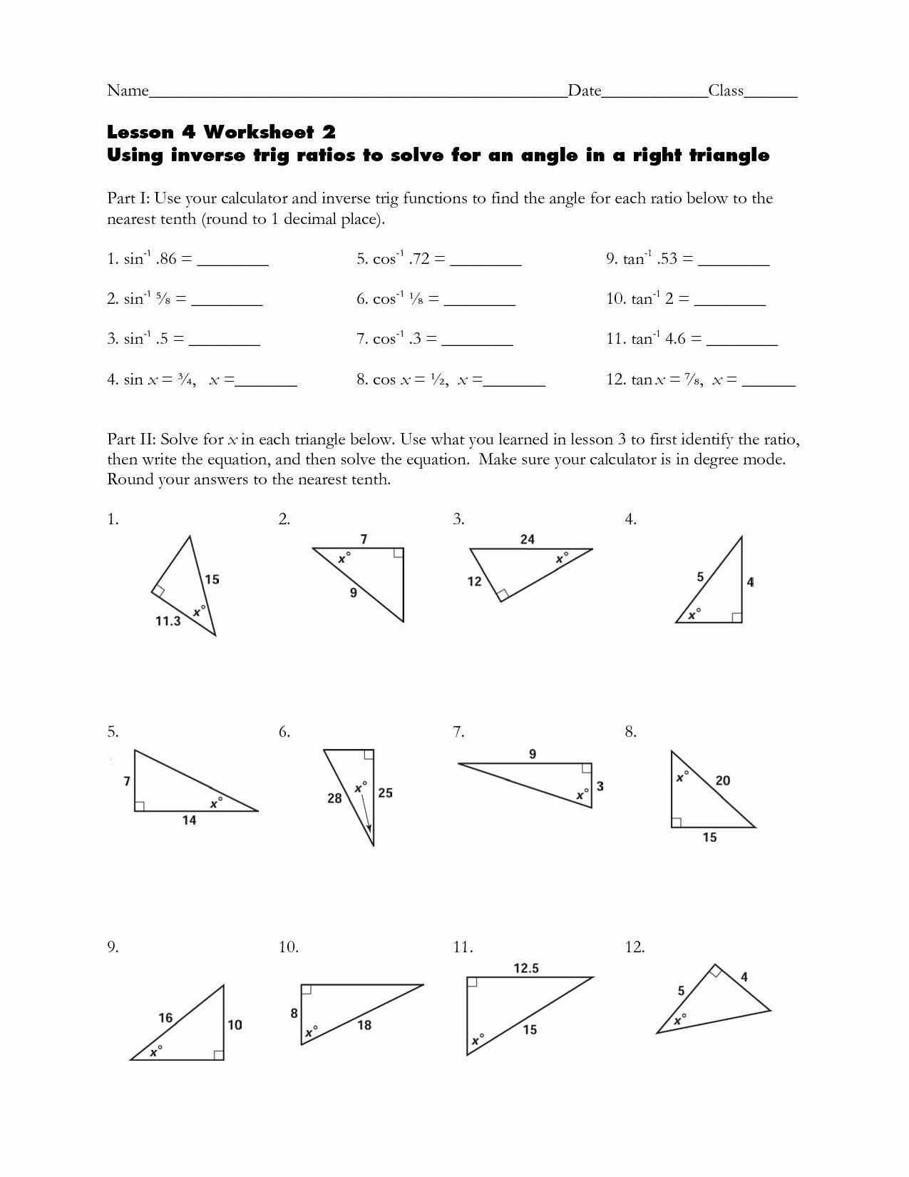 Trigonometric Ratios Worksheet Answers Unique Trigonometry