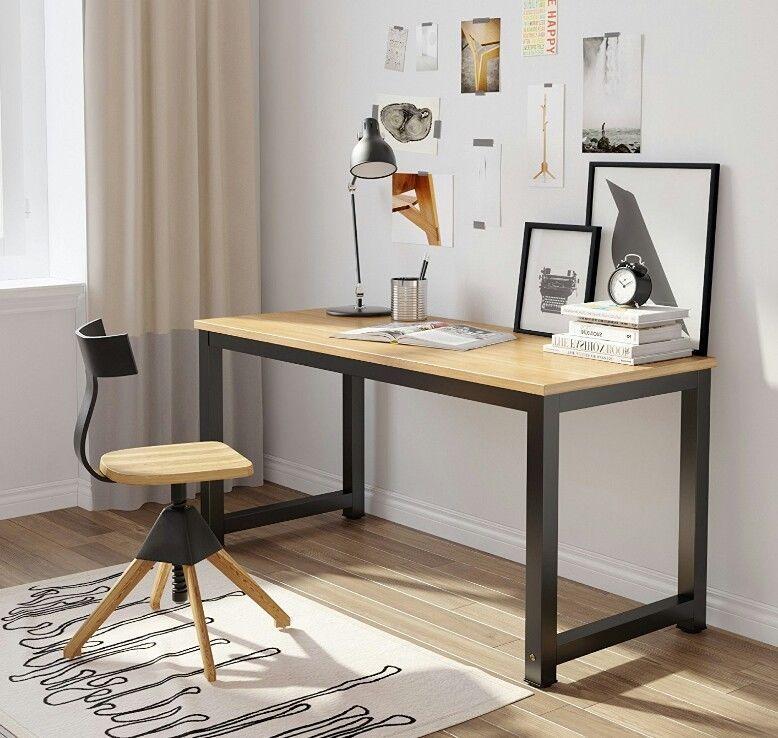 Wooden Computer Desk Table Walnut Pc Workstation Black Metal Legs