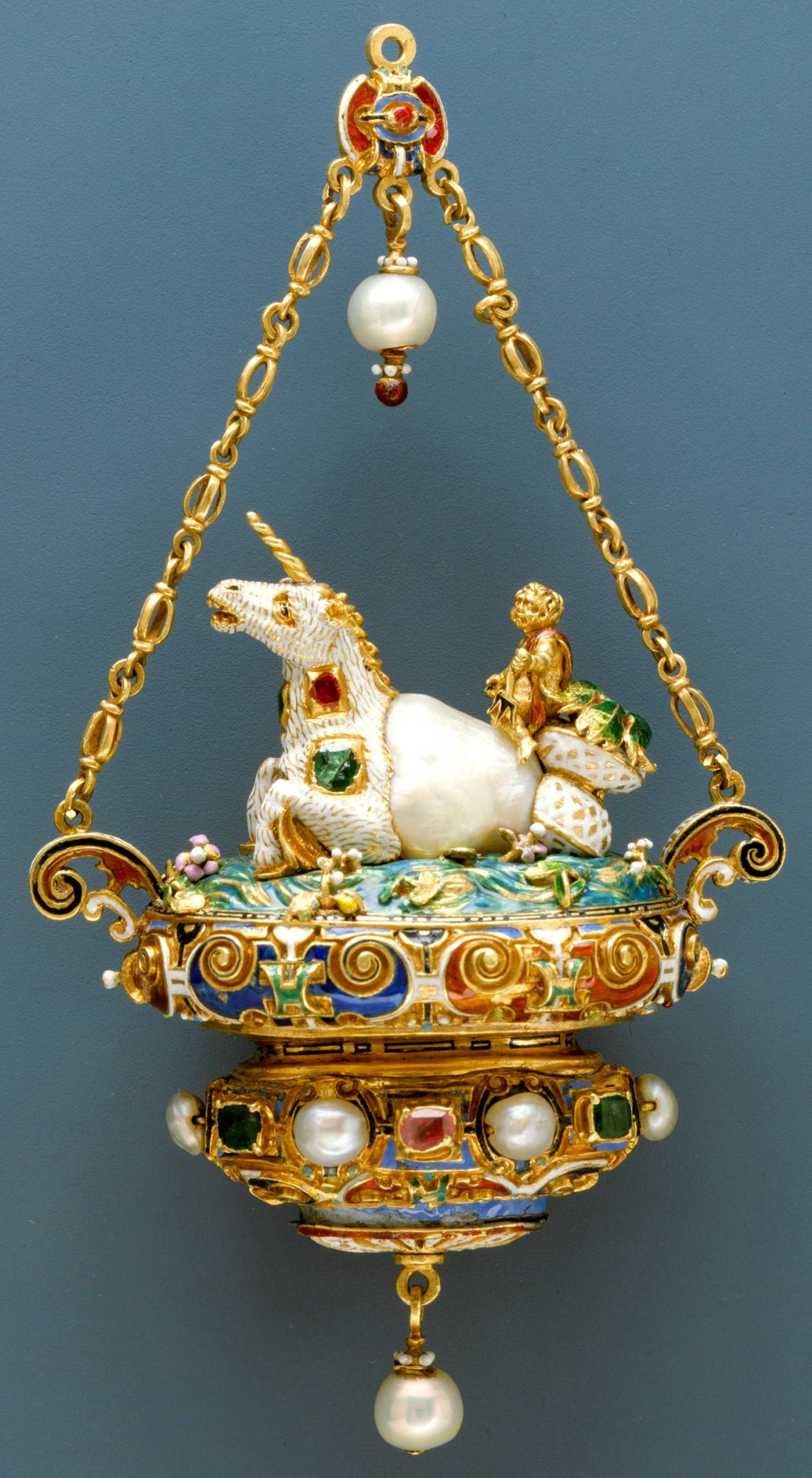 Gold and enamel pendant set with pearls emeralds and rubies