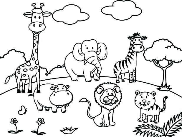 Jungle Animals Coloring Pages Safari Animal Cartoon Page Premium Zoo Animal Coloring Pages Zoo Coloring Pages Animal Coloring Books