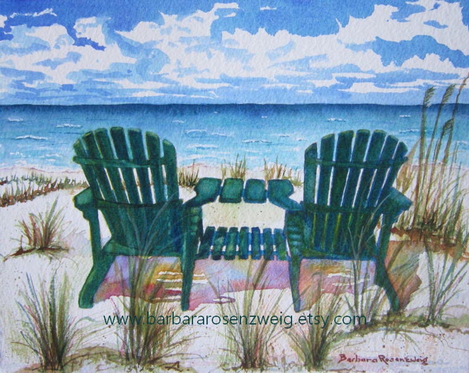 Beach Chairs Coastal Watercolor Print Anna Maria Island Beach