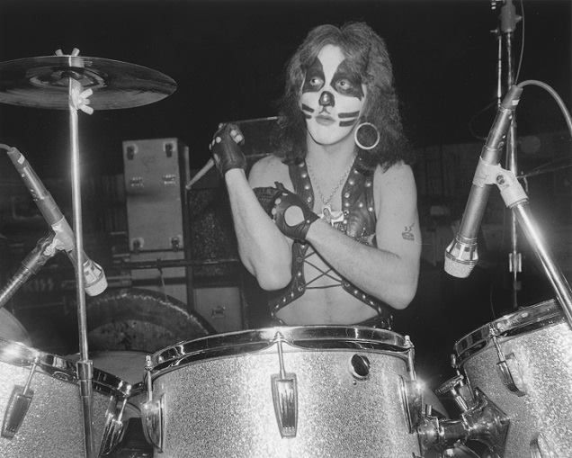 Peter Criss on the drums!  ~ Opening Night/Dressed To Kill Tour  ~ Pre show photo session  ~ Beacon Theater New York City, March 21, 1975 ~  Photographer Chuck Pulin