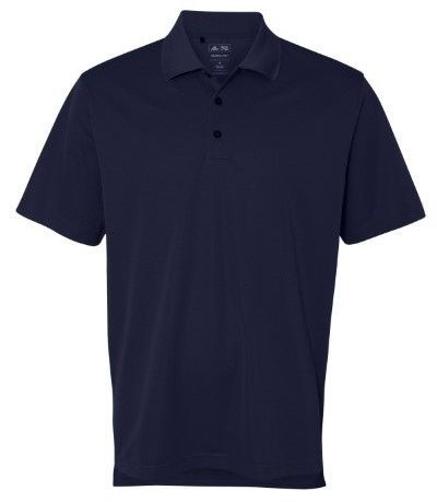 adidas A130 Men's Solid ClimaLite Basic Pique Polo Shirt Navy/White Large