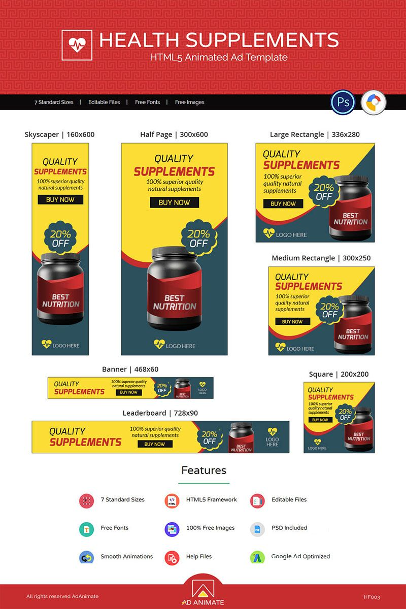 Health & Fitness Supplement Animated Banner 71777