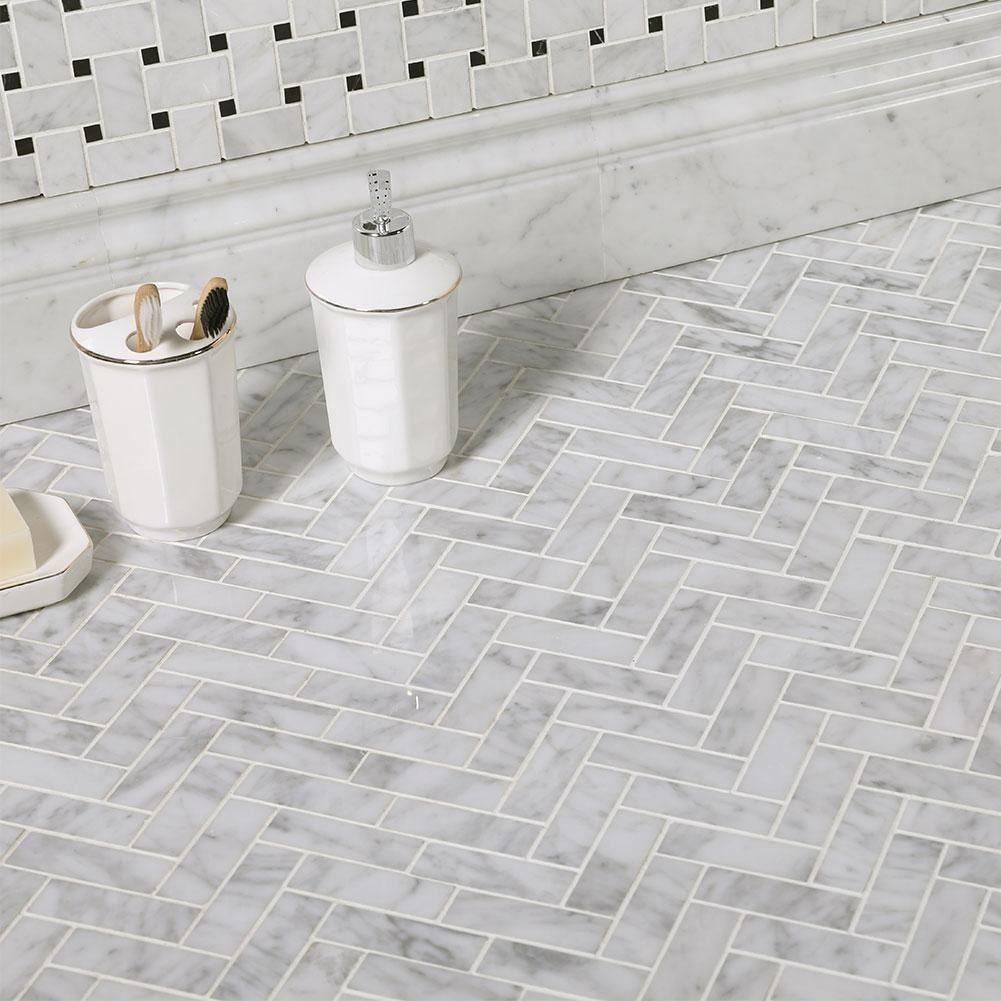 Carrara White Bianco Carrera Marble 1 X 3 Herringbone Mosaic Tile Pack Of 5 1000 In 2020 Herringbone Mosaic Tile Herringbone Tile Floors Marble Herringbone Tile