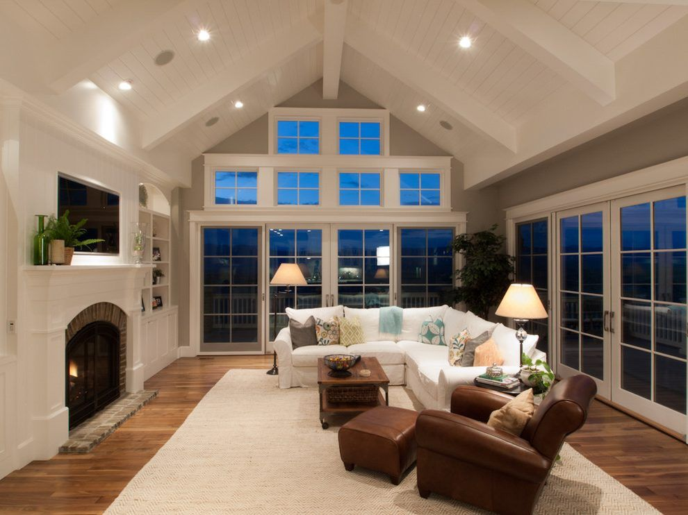 Cathedral Ceiling Windows Family Room Traditional With Coffee