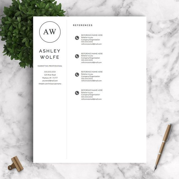 Modern Resume Template Resume Template for Word and Pages 1, 2
