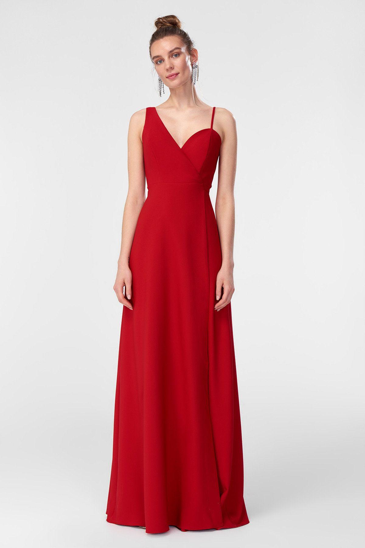 Kirmizi Belden Baglamali Abiye Elbise Trendyolmilla Trendyol The Dress Elbise Modelleri Elbise