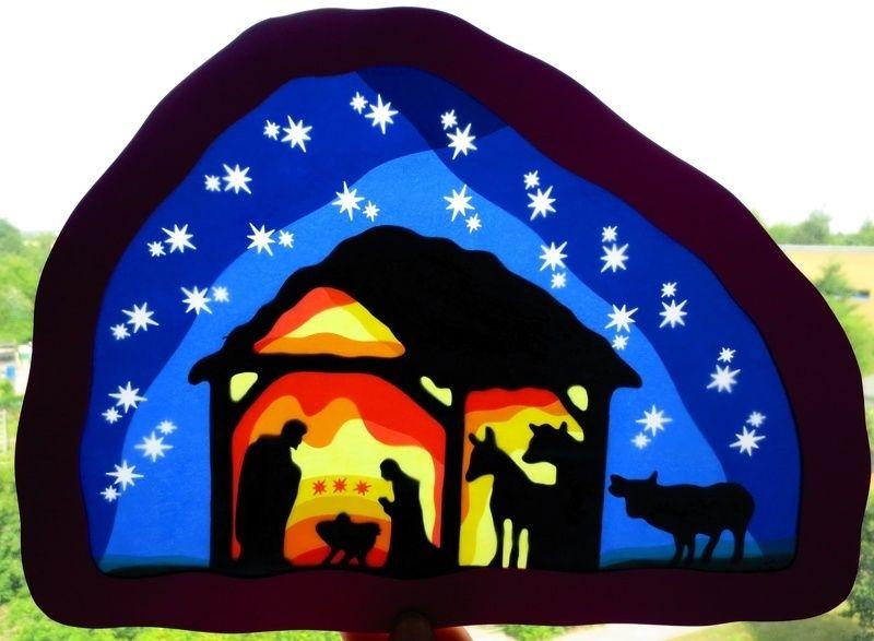 waldorf großes fensterbild krippe  basteln weihnachten