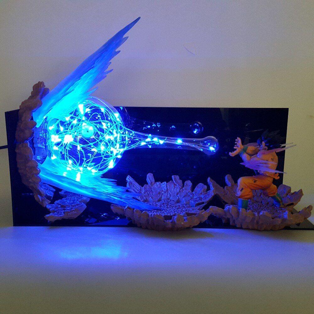 Dragon Ball Z Son Goku Kamehameha Lamp Led Explosion Scene Diy Night Lights Dragon Ball Super Goku Table Lamp For Dragon Ball Z Dragon Ball Artwork Dragon Ball