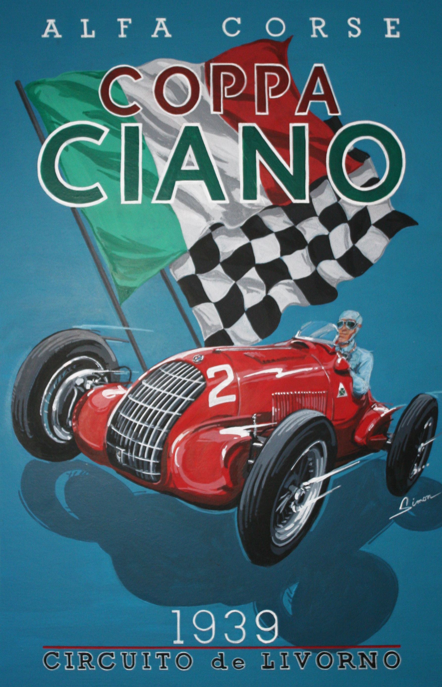 alfa romeo coppa ciano grand prix vintage style racing poster by dennis simon this poster. Black Bedroom Furniture Sets. Home Design Ideas