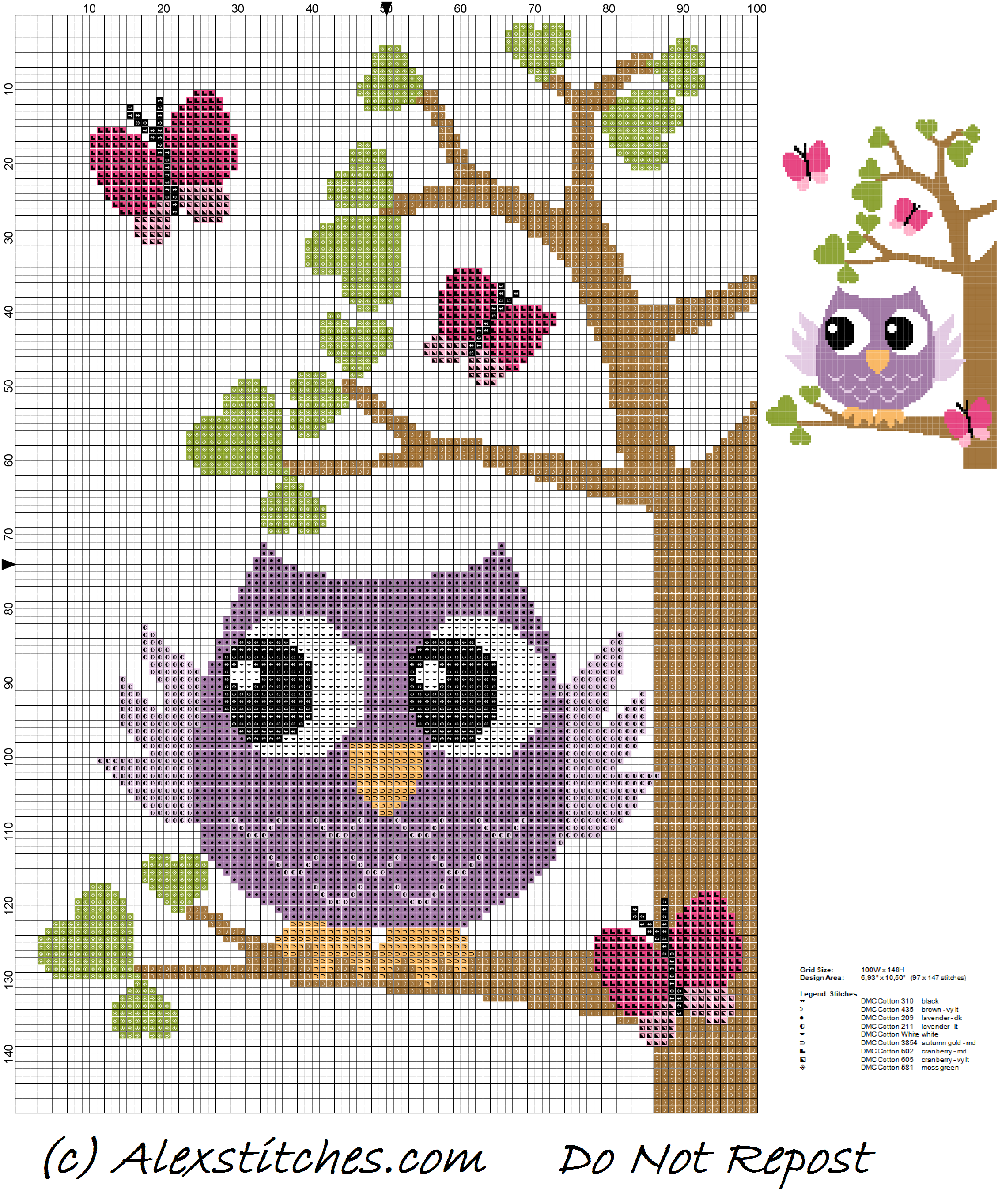 Owl on tree with butterflies and hearts cross stitch