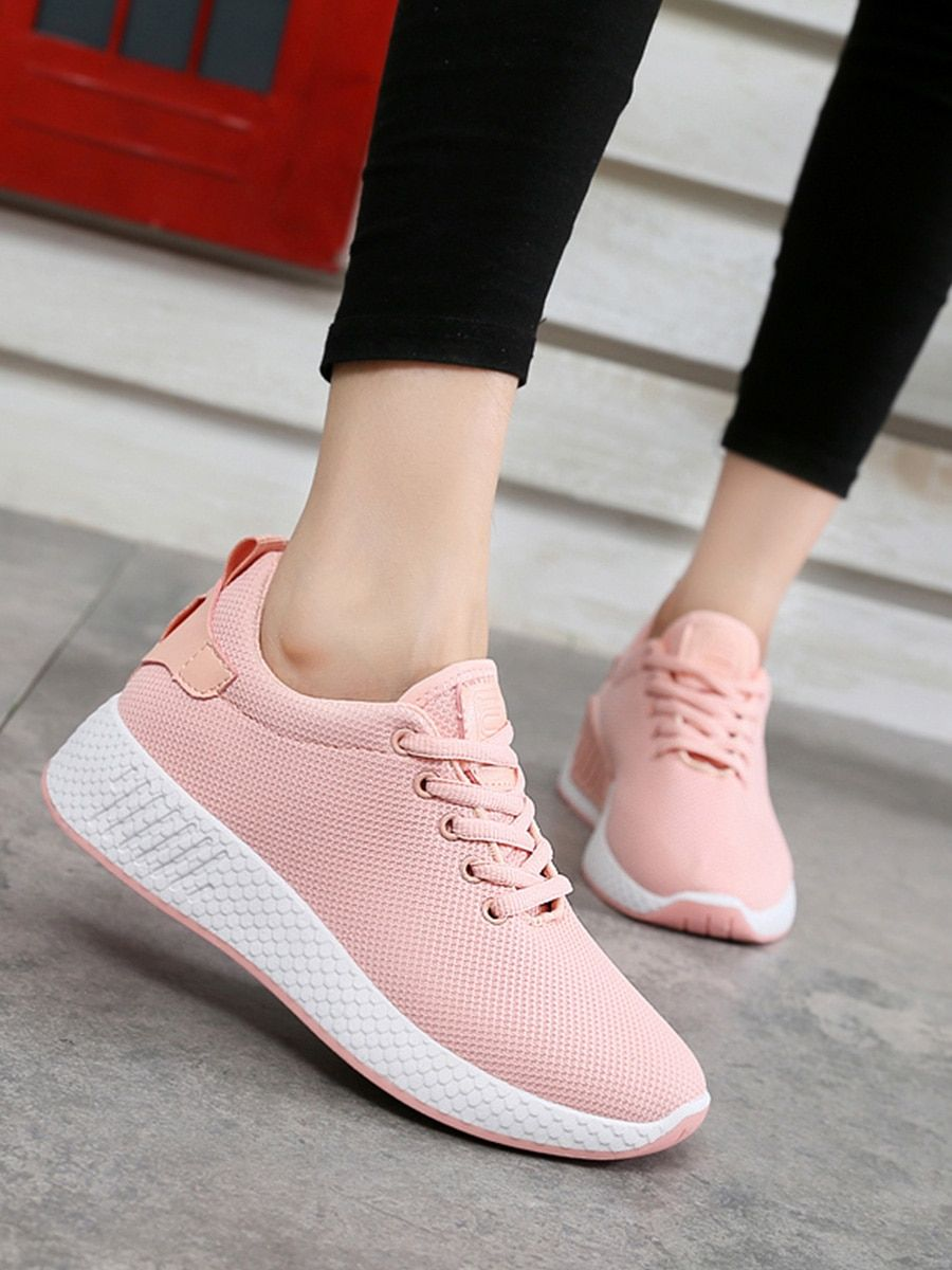 Women's Sports Shoes Comfy Solid Color Lacing All Match