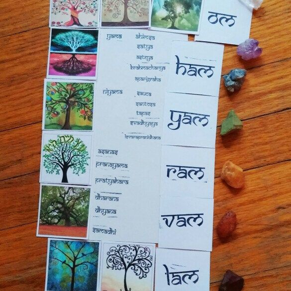 I made up the eight limbs of yoga tree cards with bija mantras as a gift for anyone who purchases the tree of life mala :) Check us out on instagram for sneak peeks @mystic.key.meditations