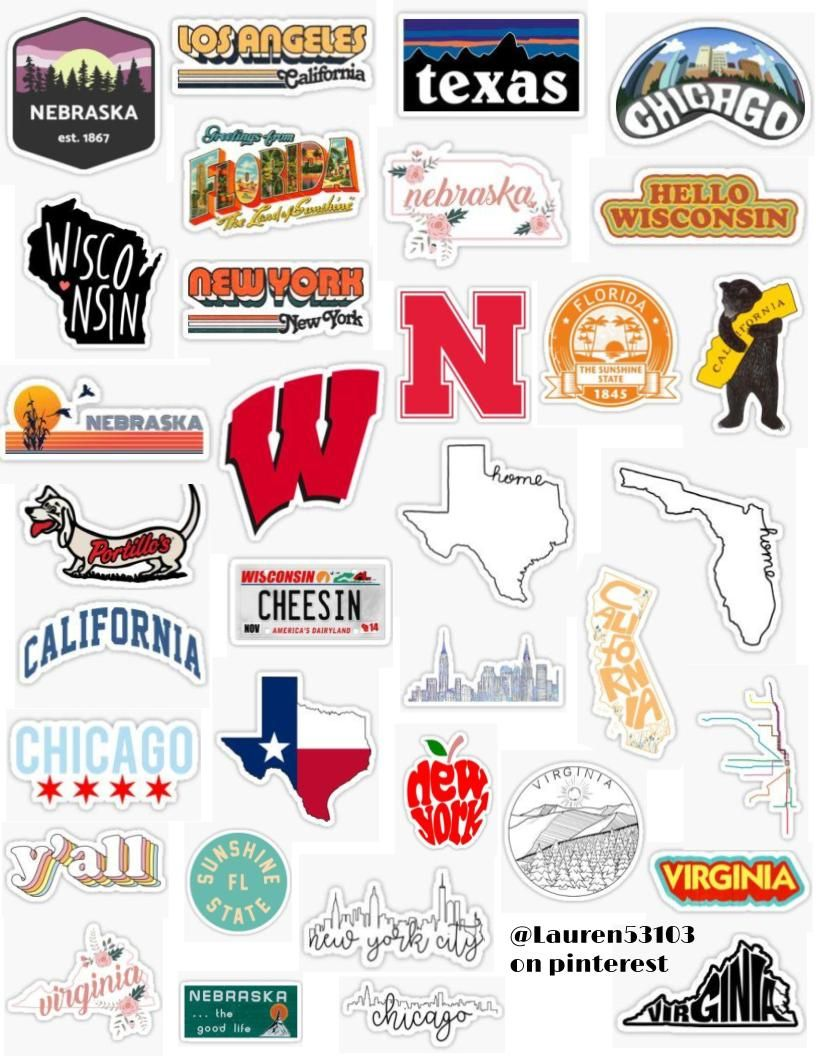 States Sticker Pack Sticker In 2020 Aesthetic Stickers Tumblr