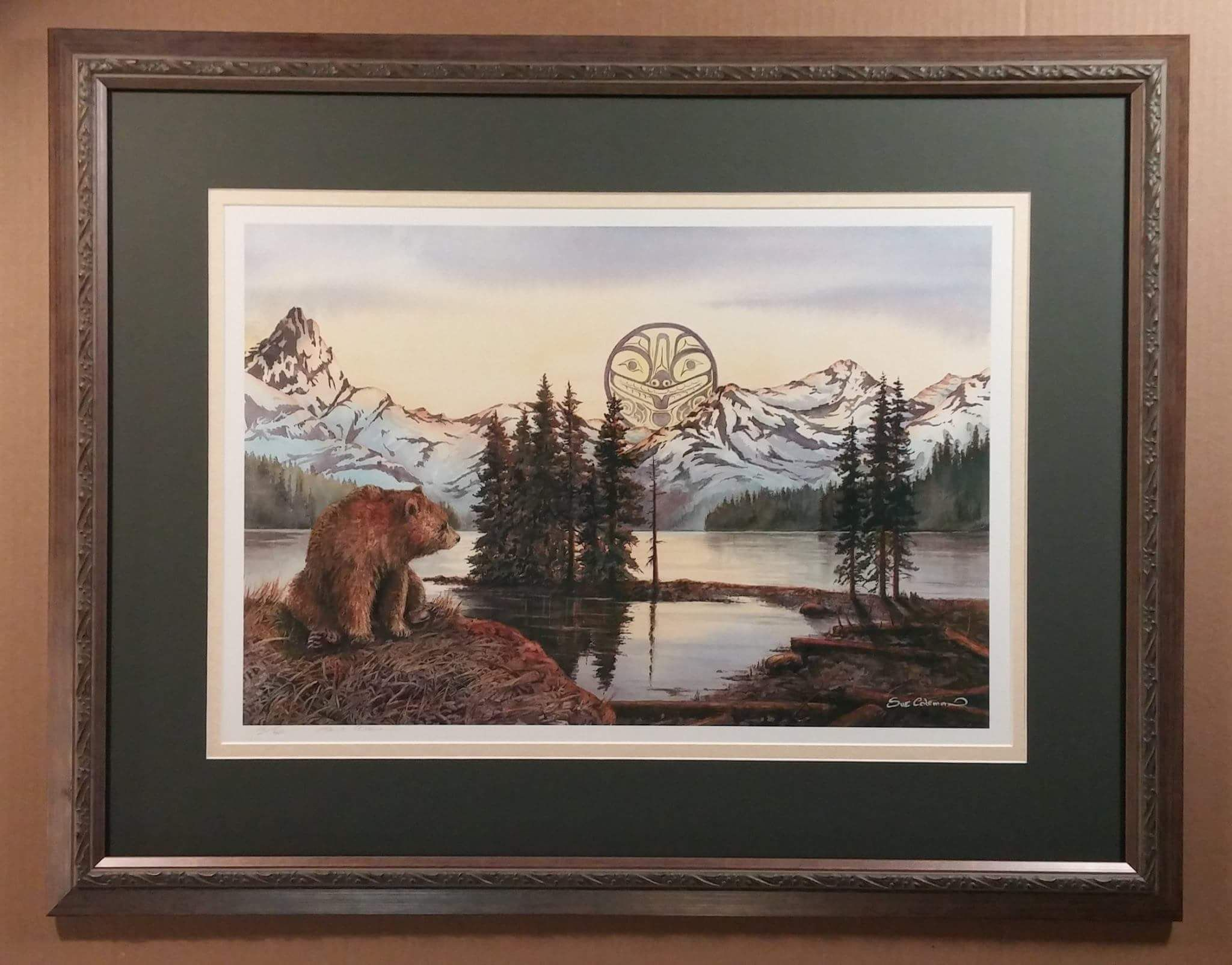 Bear Landscape painting with forest green mat, brown design frame and UV Art glass.