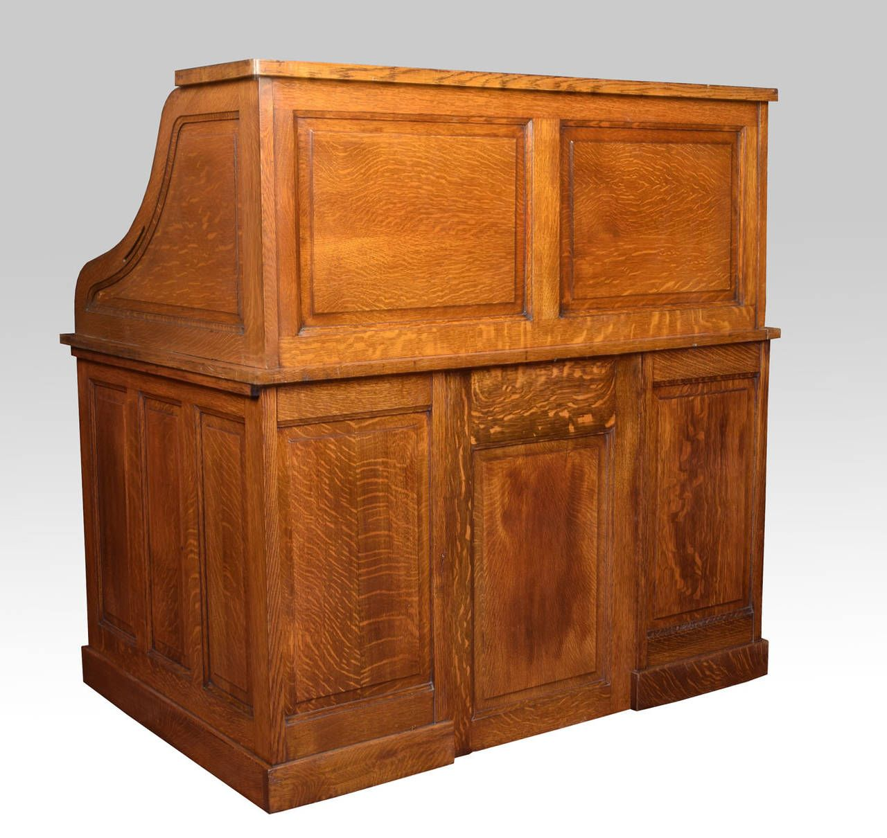 Charming Oak Pedestal Roll Top Desk By Cutler | From A Unique Collection Of Antique  And Modern