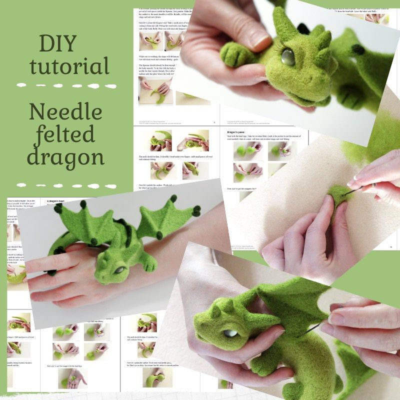DIY dragon felting instructions, needle felted forest dragon tutorial, craft pattern, PDF