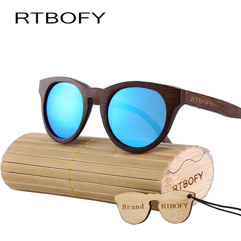 e7dc7f1528 RTBOFY Wood Sunglasses Men Brand Design Mirror Sun Glasses Driving Original  Bamboo Sun glasses made in China