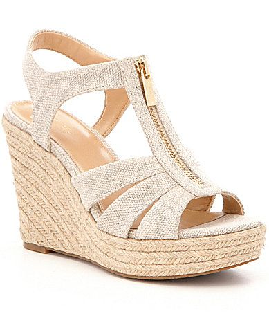 0ac040a1cc4f MICHAEL Michael Kors Berkley Hemp Fabric Front Zip Espadrille Wedge Sandals   Dillards