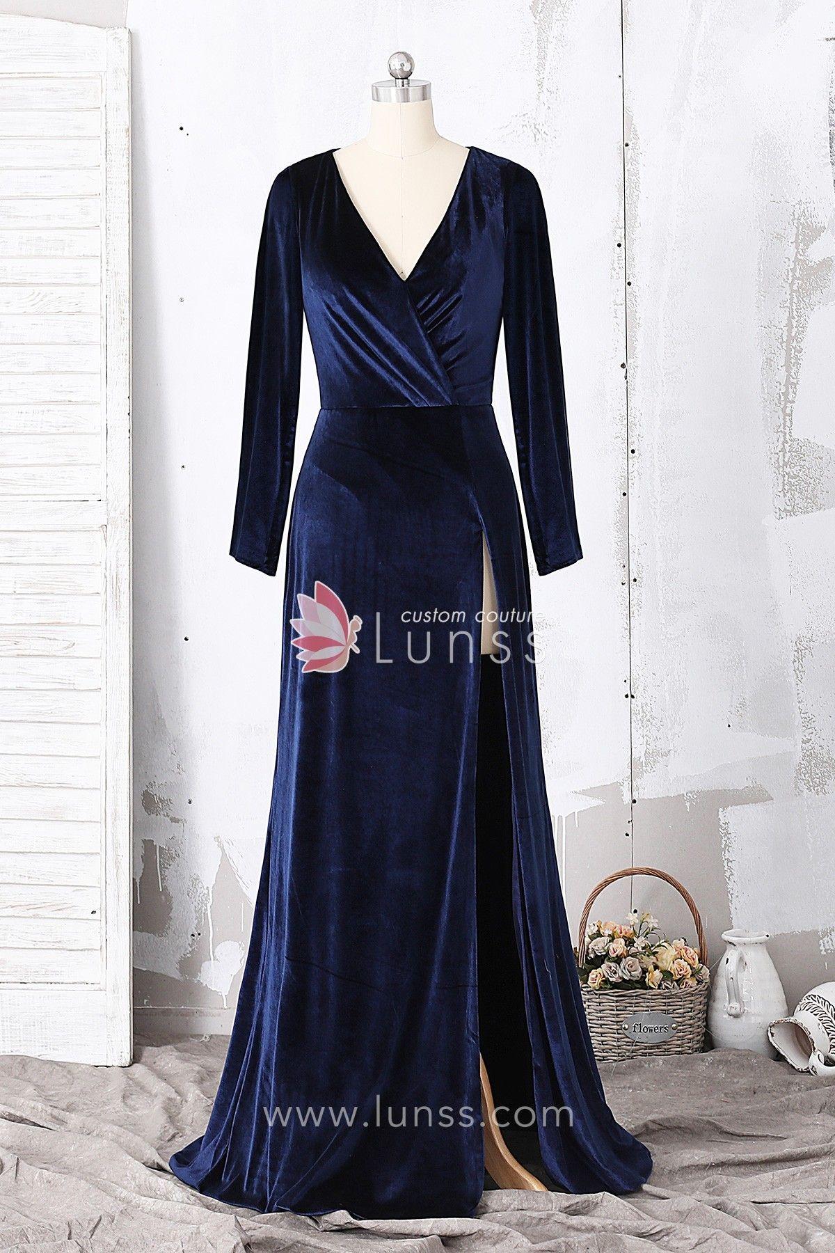 86fd5ae537d Navy Silk-Like Velvet Long Sleeve Evening  Prom Dress with High Slit ...
