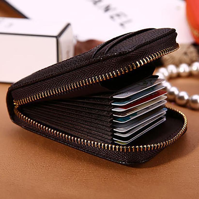 Men Women Leather Credit Card Holder Case Card Holder Wallet ...