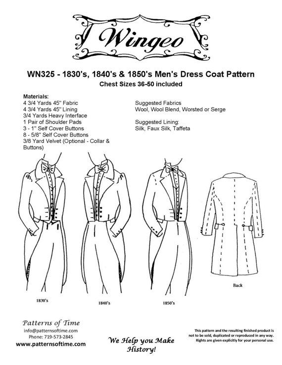 WN325 - Western/Victorian Era 1830's, 1840's, and 1850's Dress Men's