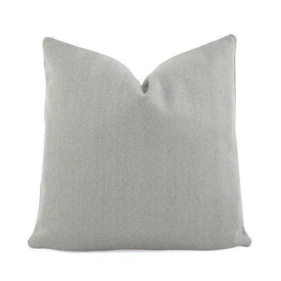 Chey Pewter Gray Throw Pillow Cover With Zipper For Sofa Euro