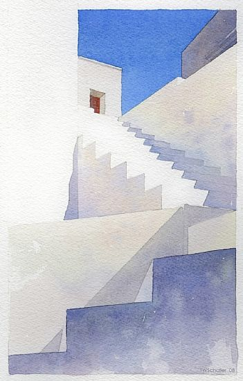 greek steps - 1 by Thomas W Schaller Watercolor ~ 13 inches x 9 inches. So simple and yet, so elegant.