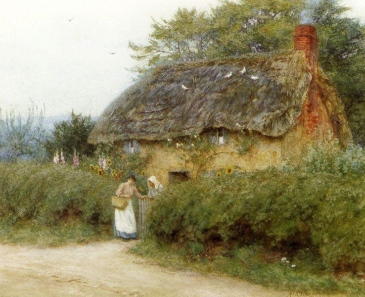Helen Allingham (1848–1926)  Casa de campo con girasoles en Peaslake acuarela