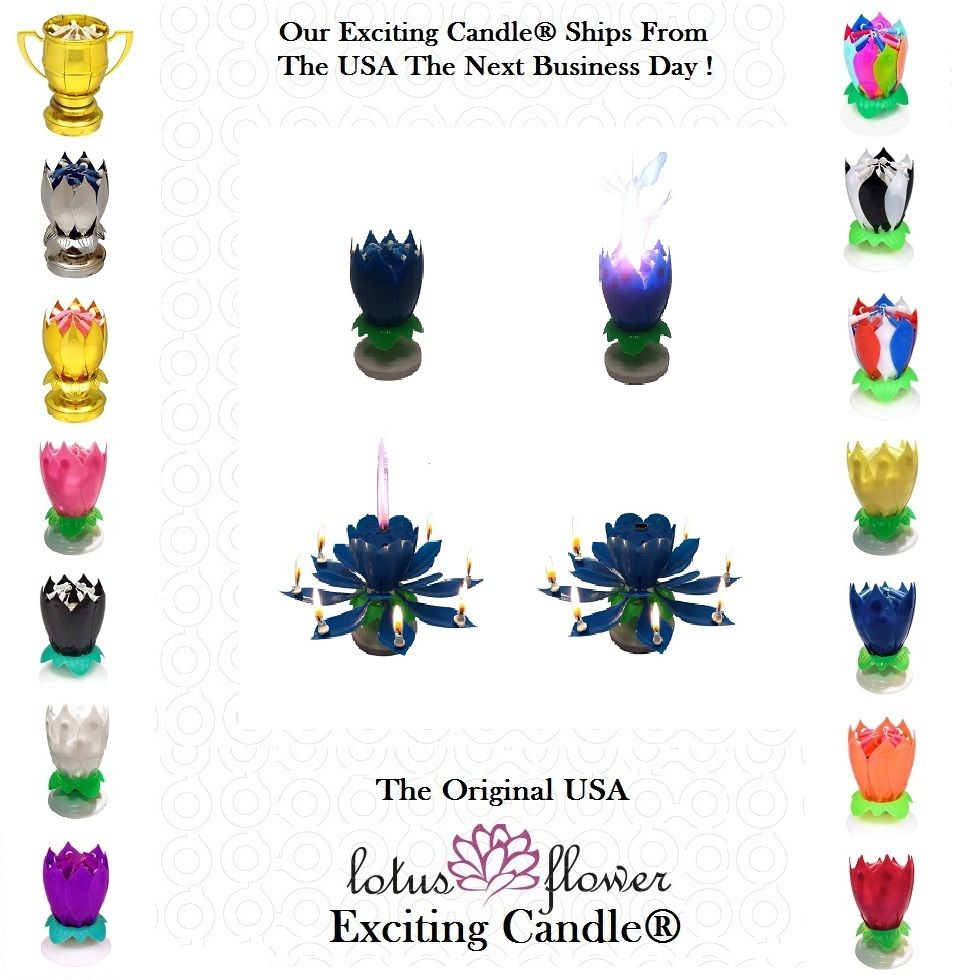 This Is The Blue Lotus Flower Birthday Exciting Candle From Excitingcandle Com Just Light It And It Does The Rest Th Mini Candles Blue Lotus Flower Candles