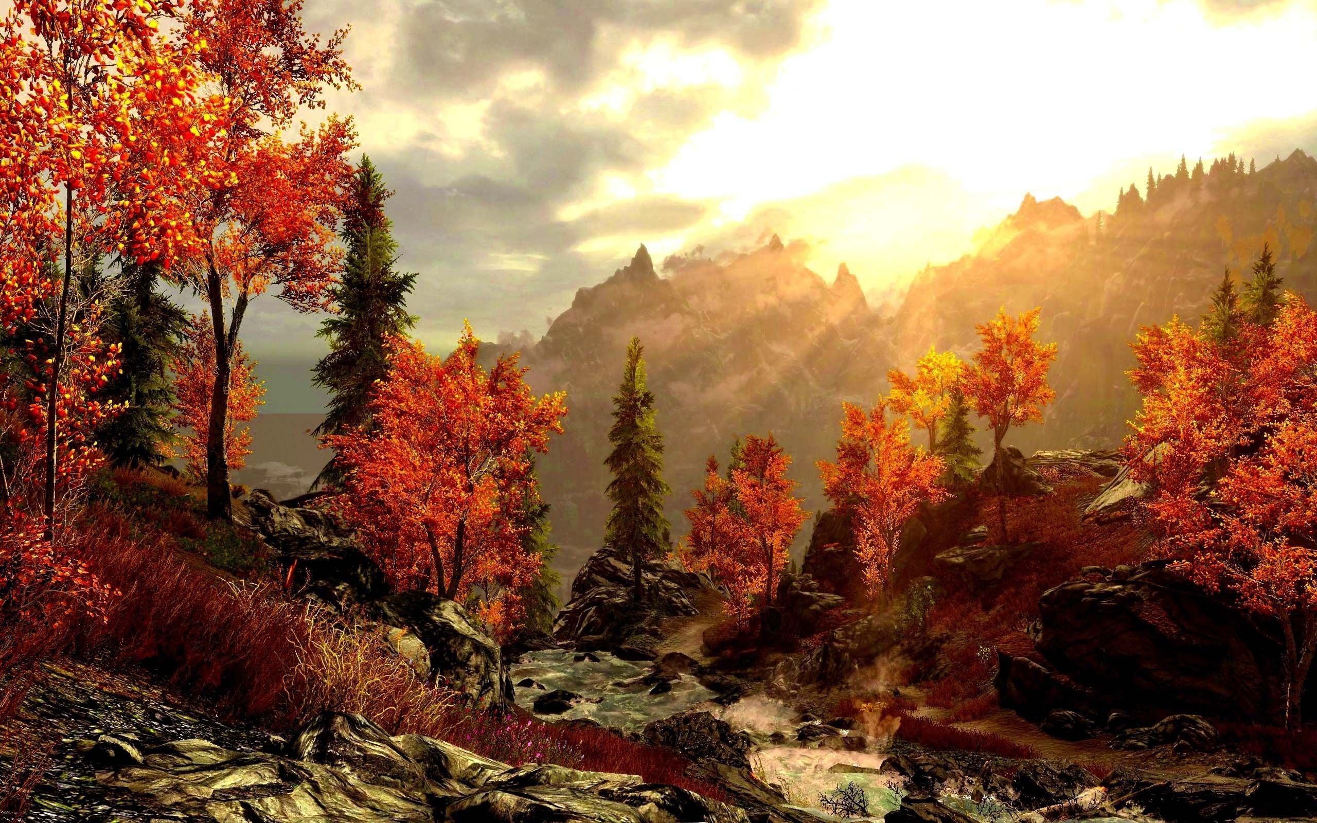 Art painting forest autumn mountains painting picture ...